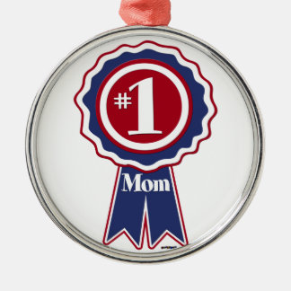#1 Mom Blue Ribbon Metal Ornament