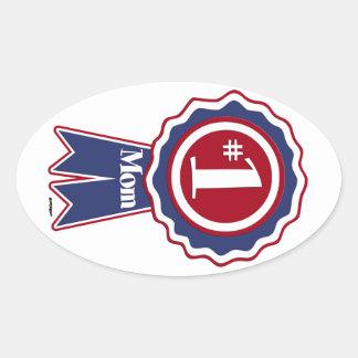 #1 Mom Blue Ribbon Oval Sticker