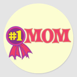 Round Sticker with #1 Mom Award design