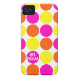 #1 Mom Colorful Polka Dots Mothers Day iPhone Case Case-Mate iPhone 4 Case
