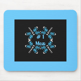 # 1 Mom, Dragonflies, purple & blue on black Mouse Pad