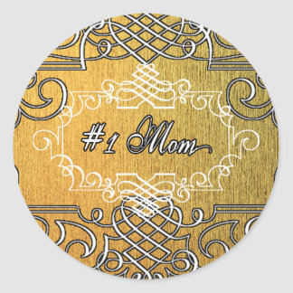 #1 mom Golden typography mother's day Classic Round Sticker