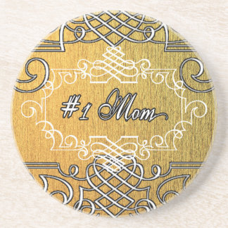 #1 mom Golden typography mother's day Coaster