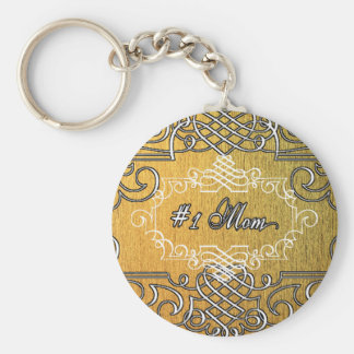 #1 mom Golden typography mother's day Keychain
