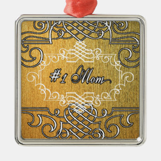 #1 mom Golden typography mother's day Metal Ornament