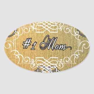 #1 mom Golden typography mother's day Oval Sticker