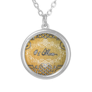 #1 mom Golden typography mother's day Silver Plated Necklace