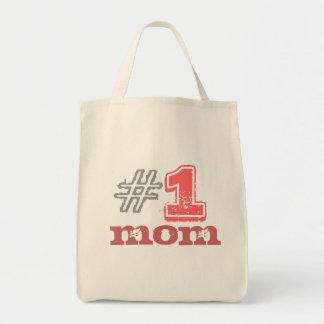 #1 mom grocery tote bag