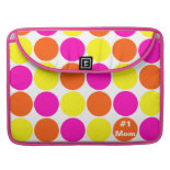 #1 Mom Hot Pink Orange Polka Dot Laptop Sleeve Sleeve For MacBook Pro