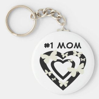 #1 Mom, open hearts, white butterflies Keychain
