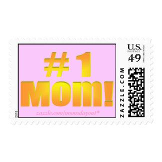 #1 Mom! Orange & Pink Postage Stamps