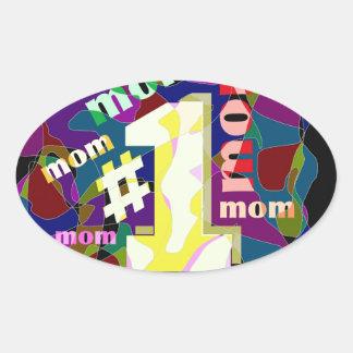 # 1 mom oval sticker