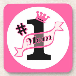 #1 MOM Pink Beverage Coaster
