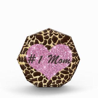 #1 Mom Pink Heart Brown & Gold Animal Print Acrylic Award