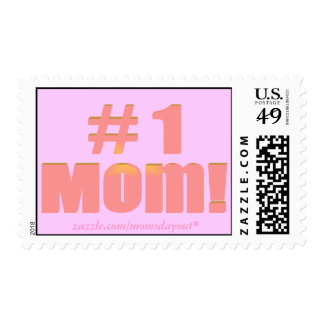 #1 Mom! Pink on Pink Postage Stamps
