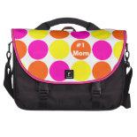 #1 Mom Pink Orange Polka Dots Laptop Bag