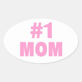 #1 Mom (Pink) Oval Sticker