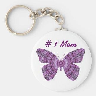 # 1 Mom, Purple fractal butterfly Key Chain
