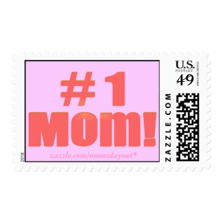 #1 Mom! Red & Pink Postage Stamps