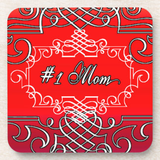#1 Mom Red Typography Mother's day Coaster