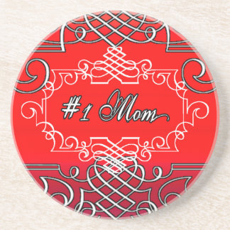 #1 Mom Red Typography Mother's day Drink Coaster