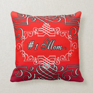 #1 Mom Red Typography Mother's day