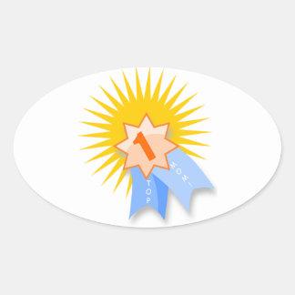 #1 MOM Ribbon Award Oval Sticker