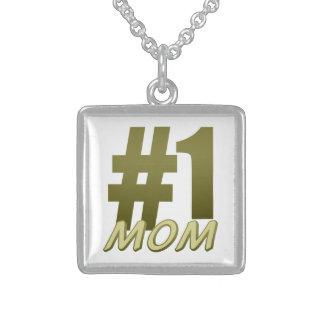 #1 Mom Square Pendant Necklace