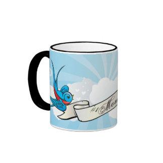 #1 Mom Tattoo Swallow Birds and Banner Mug