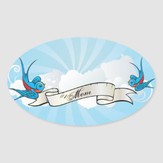 #1 Mom Tattoo Swallow Birds and Banner Sticker