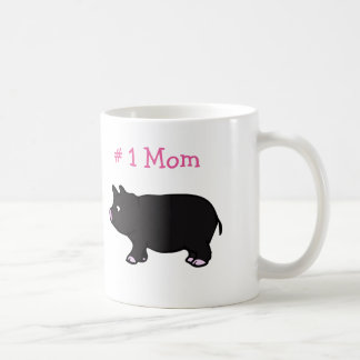 # 1 Mom With Black Pig White Mug