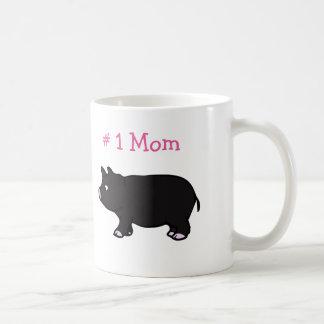 # 1 Mom With Black Pig White Mug