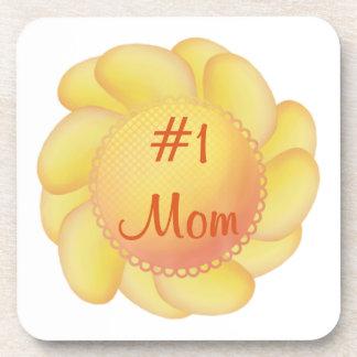#1 Mom (yellow flowers) Drink Coaster