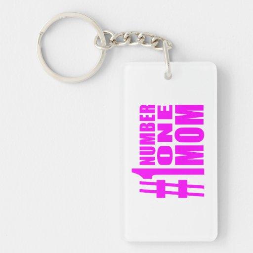 #1 Moms Birthdays & Christmas : Number One Mom Single-Sided Rectangular Acrylic Keychain