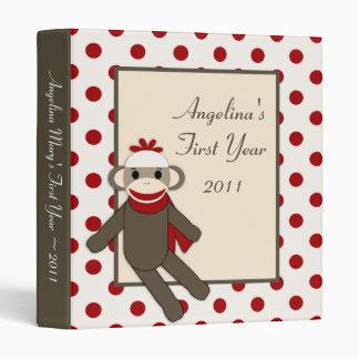"""1"""" mono rojo del calcetín del libro de recuerdos d"""