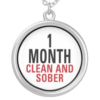 1 Month Clean and Sober Round Pendant Necklace