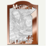 #1 Mother In Law Copper Photo Frame Sculpture Standing Photo Sculpture