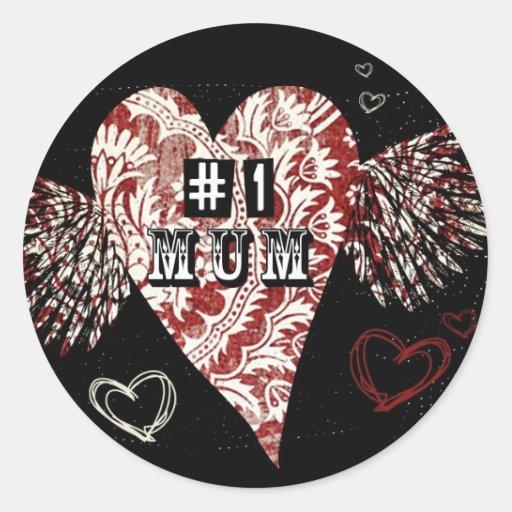 #1 Mum Urban Fleur Winged Heart Round Stickers