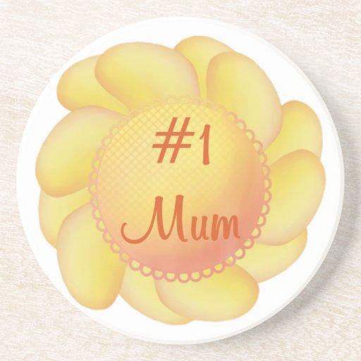 #1 Mum (yellow flower) Beverage Coasters
