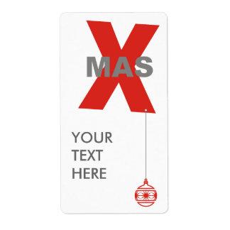 1 Navidad con el ornamento del árbol de navidad + Etiqueta De Envío