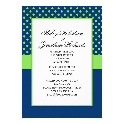 "#1 Navy Blue And Lime Green Polka Dots Wedding 5"" X 7"