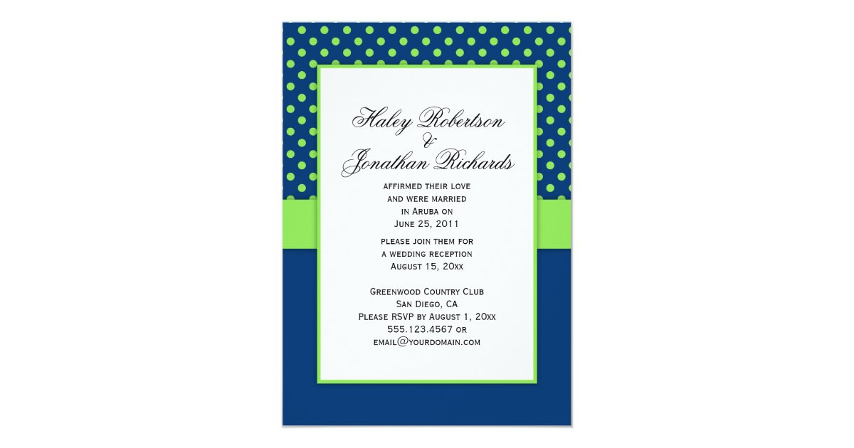 Royal Blue And Lime Green Wedding Invitations: #1 Navy Blue And Lime Green Polka Dots Wedding Invitation