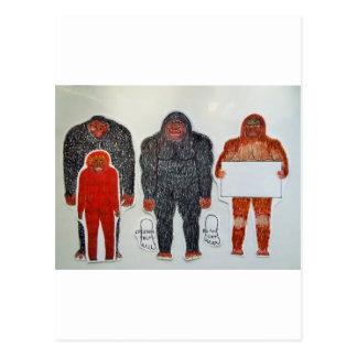 1 Neanderthal & 3 Big foot,on white,.JPG Postcard