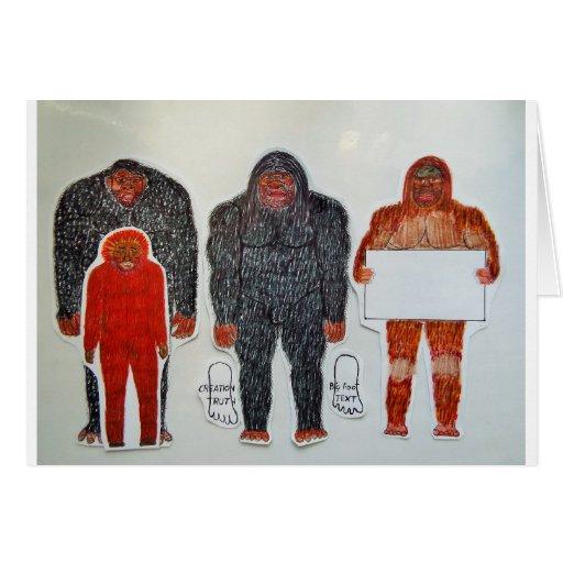1 Neanderthal y 3 pies grandes, en blanco, .JPG Tarjeta De Felicitación