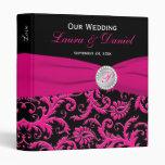"1"" negro y carpeta rosada del boda del damasco"