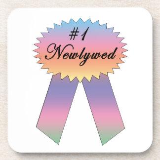 #1 Newlywed Prize Ribbon Coaster