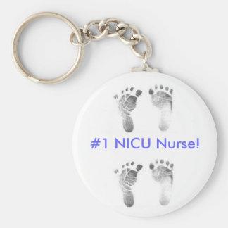 #1 NICU Nurse! (blue) Basic Round Button Keychain