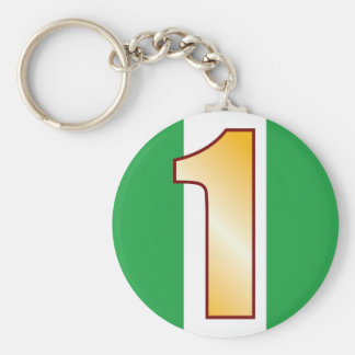 1 NIGERIA Gold Basic Round Button Keychain