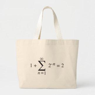 1 + notación de la adición de 1 = 2 _ bolsa tela grande