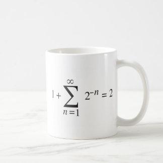 1 + notación de la adición de 1 = 2 _ taza de café